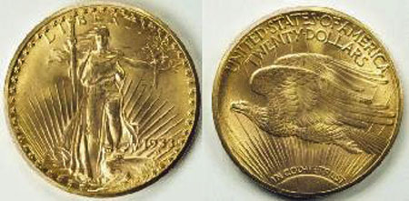 Double eagle gold coin.